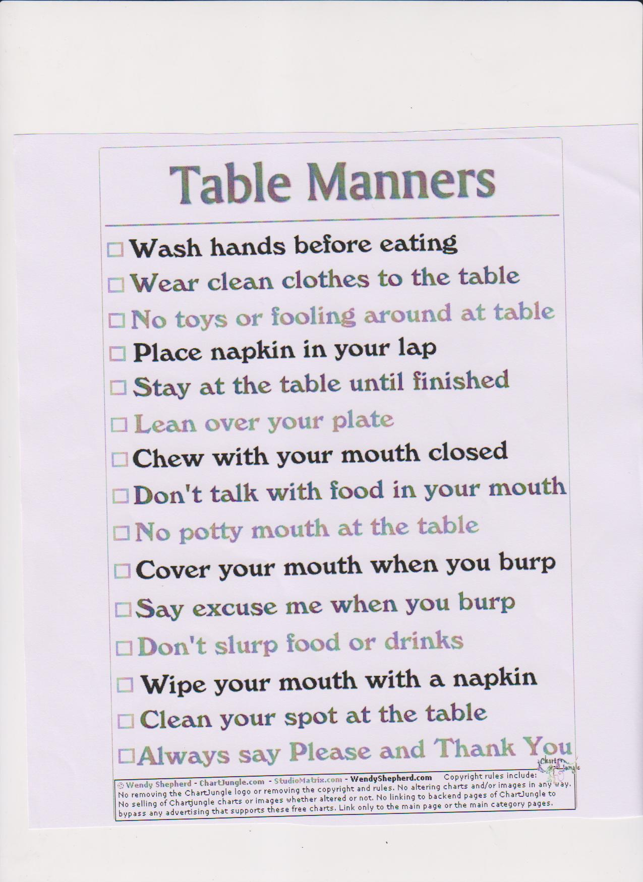 Table Manners Worksheets Quotes